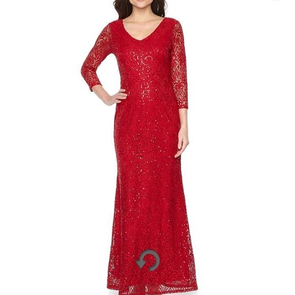 3445574de0b jcpenney Dresses | Blu Sage 34 Sleeve Sequin Lace Evening Gown ...